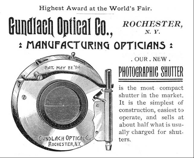 Gundlach Single Valve Right Side Shutter Tha American Annual of Photography and Photographic Times Almanac for 1895, The Scovill & Adams Company